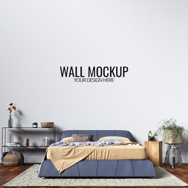 インテリア寝室の壁のモックアップ Premium Psd