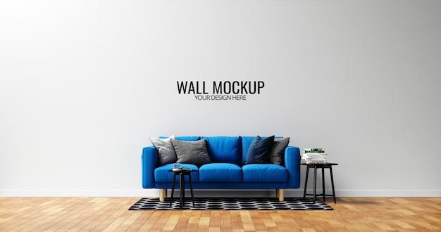 青いソファとミニマリストの内壁のモックアップ Premium Psd