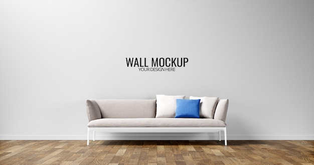 ライトグレーのソファーを備えたシンプルなインテリアの壁のモックアップ Premium Psd