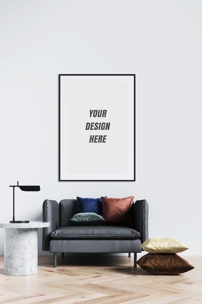装飾付きのポスターフレームと壁のモックアップ Premium Psd