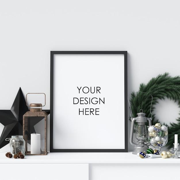 モチーフポスターフレーム、クリスマスデコレーション Premium Psd