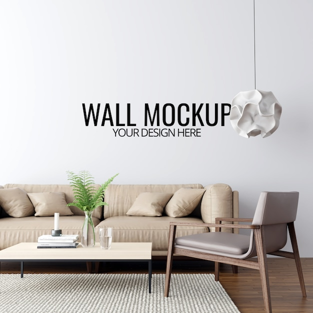 Современный интерьер гостиной стены макет фона Premium Psd