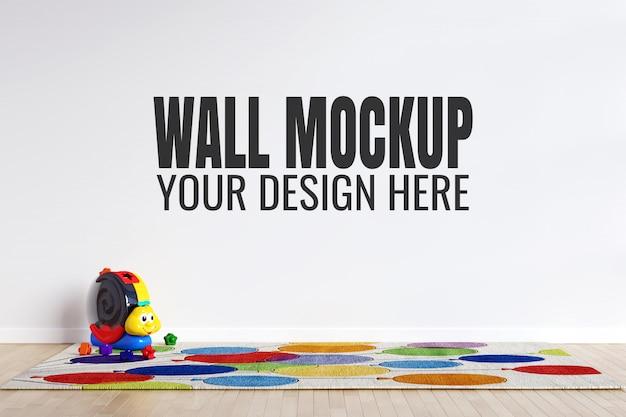 おもちゃの装飾が付いている子供のプレイルームの内壁のモックアップ Premium Psd