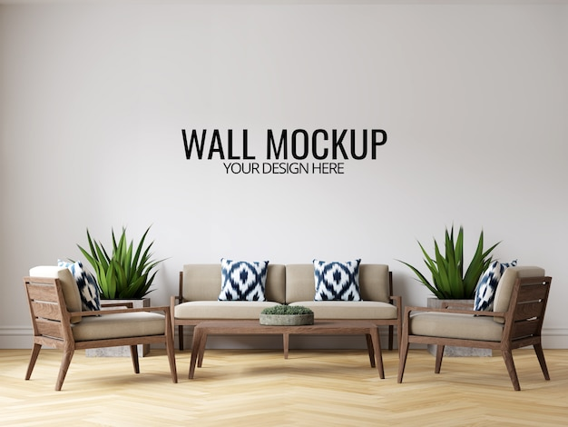 モダンなインテリアのリビングルームの壁の背景のモックアップ、家具と装飾 Premium Psd