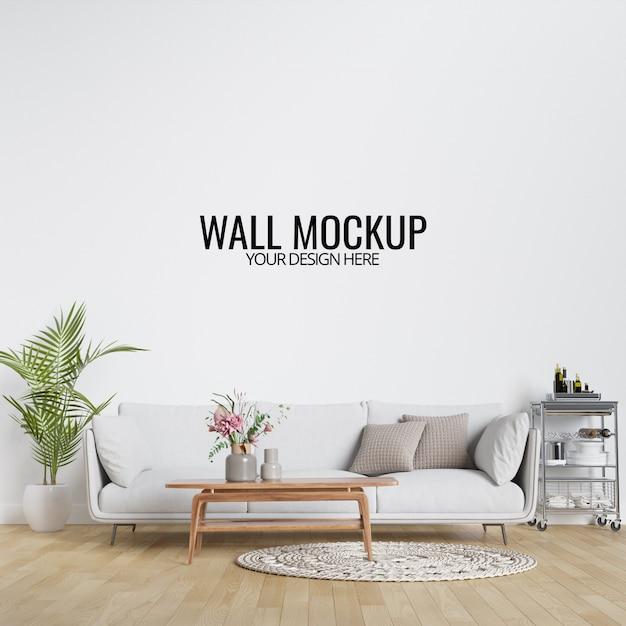 家具と装飾が施されたモダンなインテリアのリビングルームの壁のモックアップ Premium Psd