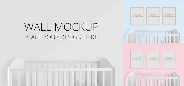 子供の寝室のモックアップの壁と空白のフォトフレーム Premium Psd