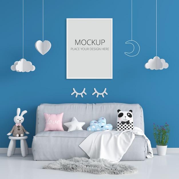 青い子供部屋のモックアップの空白のフォトフレーム Premium Psd