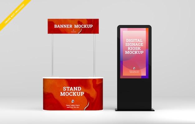 デジタルサイネージは、ブーススタンドバナーモックアップ付きのディスプレイを導きました。 Premium Psd