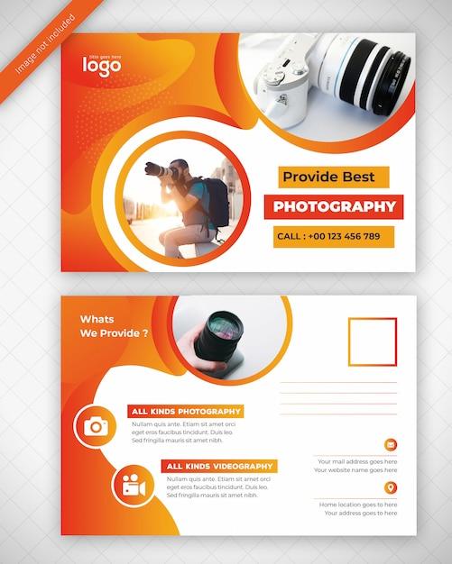 黄色の写真ポストカードデザイン Premium Psd