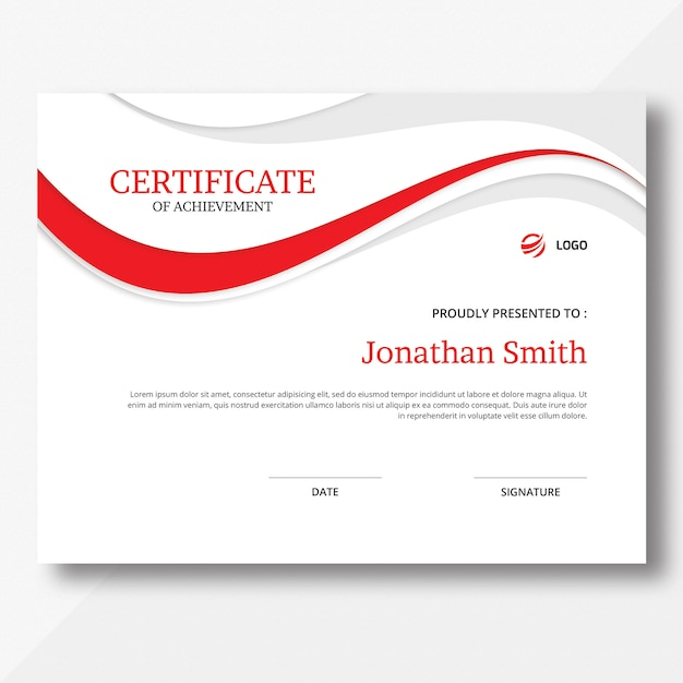 Шаблон сертификата волны Premium Psd