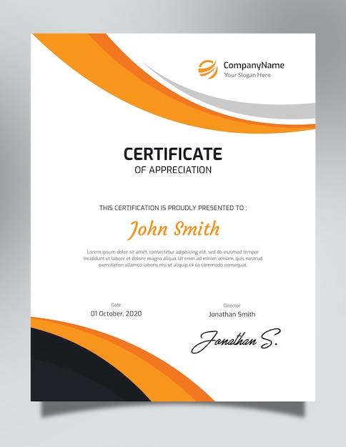 Вертикальный оранжевый и черный шаблон сертификата Premium Psd