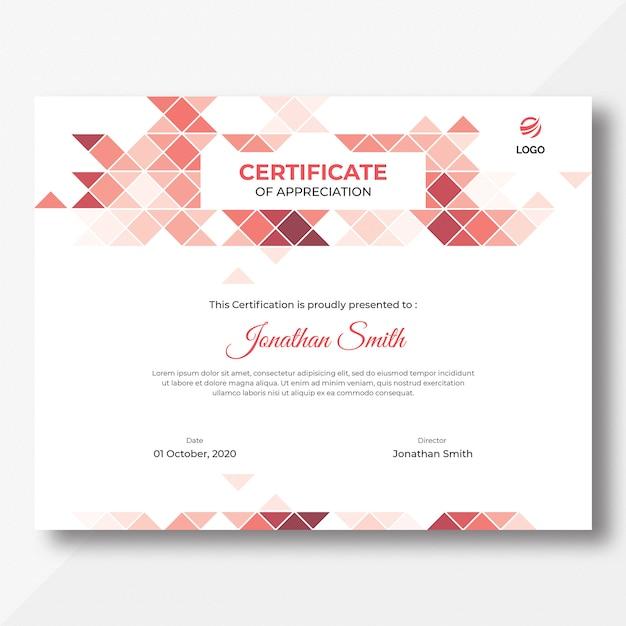 Шаблон сертификата треугольников Premium Psd