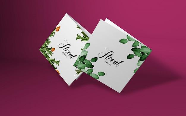 桜の枝を持つミニマルカードモックアップ Premium Psd
