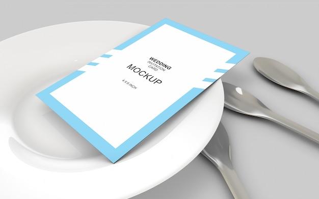 ウェディングカードの招待状のモックアップテンプレート Premium Psd