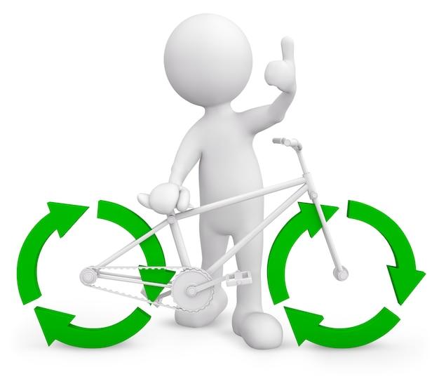 Трехмерный характер с велосипедом Premium Psd