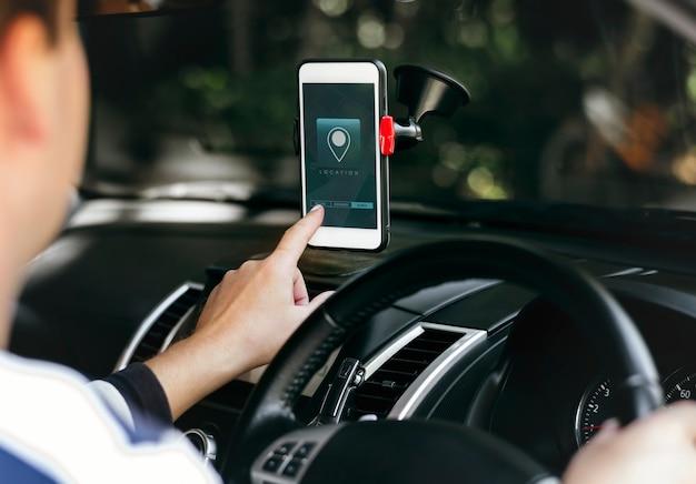 電話スクリーン上のナビゲーションシステムアプリケーション Premium Psd