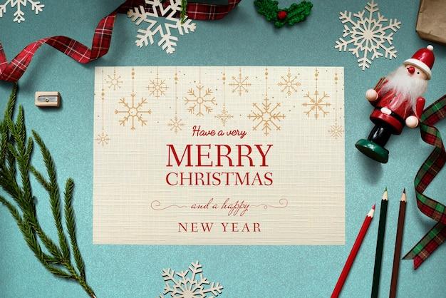 クリスマス休暇の挨拶デザインモックアップ 無料 Psd
