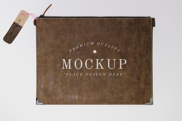 フラットブラウンレザー財布のモックアップ 無料 Psd