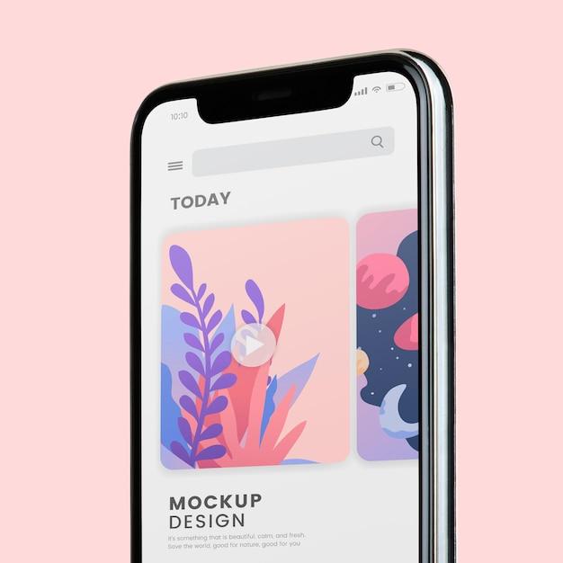 携帯電話のスクリーンモックアップデザイン 無料 Psd