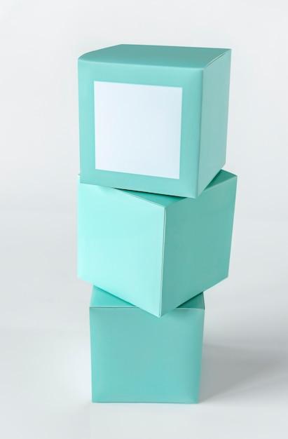ミントグリーン包装箱模型 無料 Psd