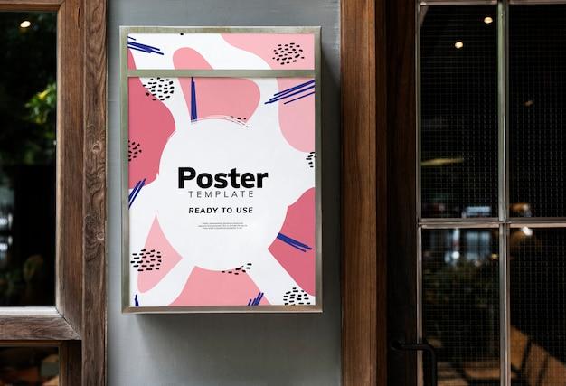 カラフルなレストランの看板のモックアップデザイン 無料 Psd