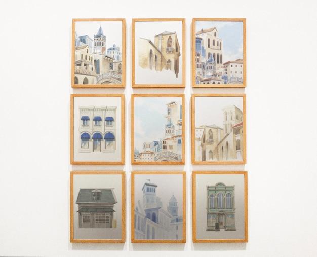 Коллекция произведений искусства на стене Бесплатные Psd