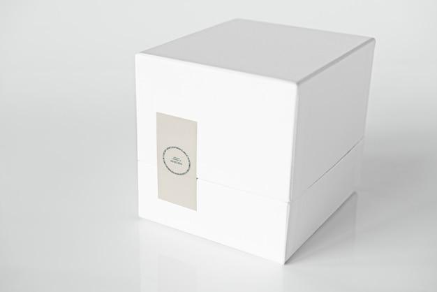 シンプルな白い梱包箱模型 無料 Psd