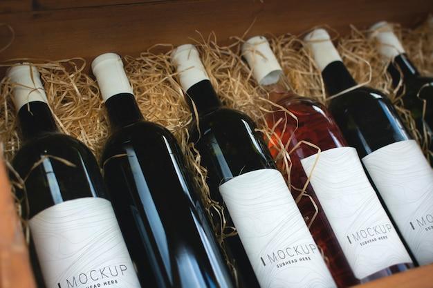 Коллекция винных бутылочных макетов Premium Psd
