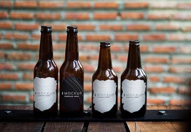 様々なビール瓶の形のモックアップ Premium Psd