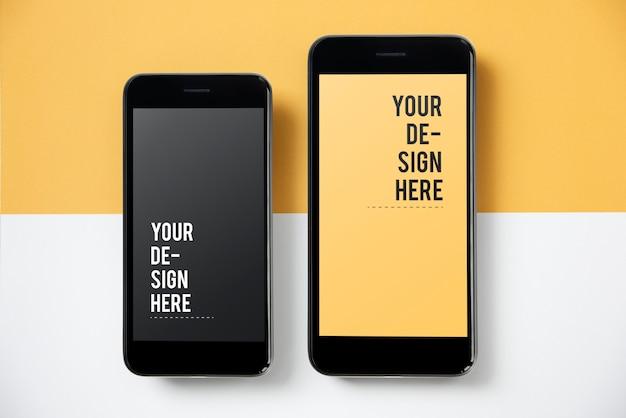 Премиум шаблон макета экрана мобильного телефона Бесплатные Psd