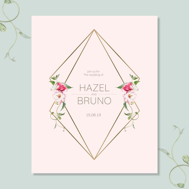 花の結婚式の招待カードモックアップ 無料 Psd