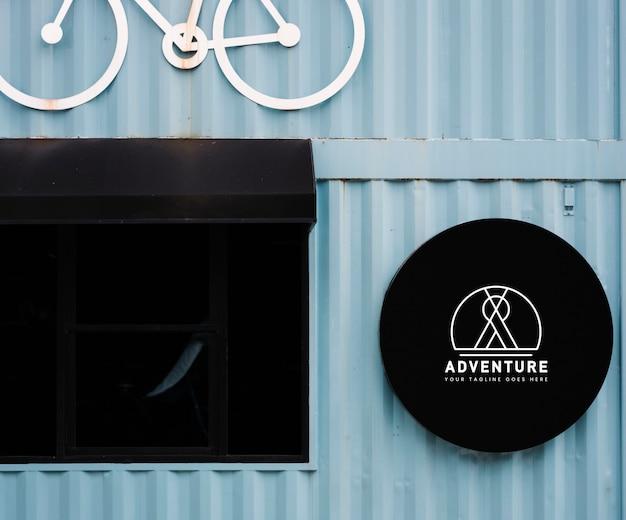 Магазинный макет с декоративным мотивом велосипеда Бесплатные Psd