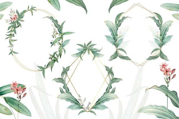 緑の葉のデザインと空のフレームのセット 無料 Psd