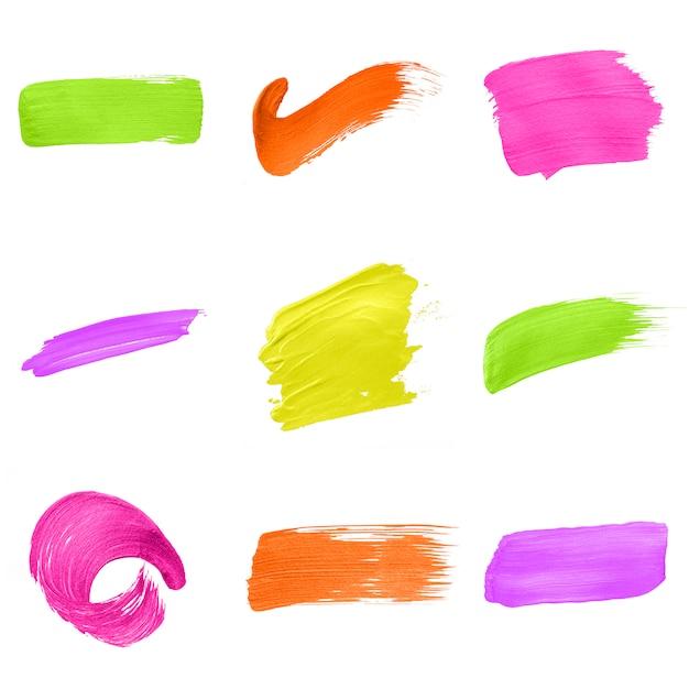 Разноцветная коллекция мазков кисти Бесплатные Psd