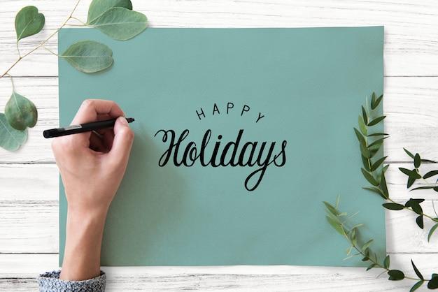 幸せな休日のあいさつデザインモックアップ 無料 Psd