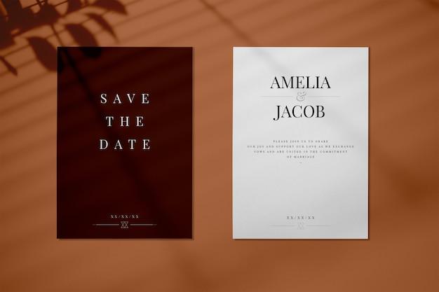 日付の結婚式の招待状カードのモックアップを保存する 無料 Psd