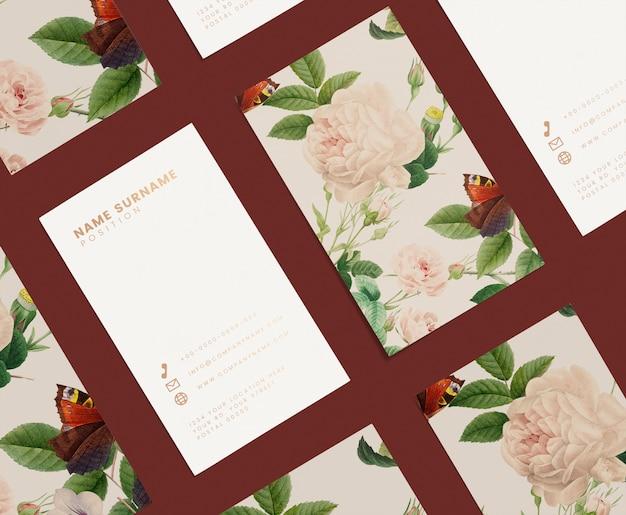 Цветочный шаблон визитной карточки набор макет Бесплатные Psd