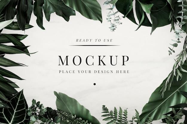 熱帯の葉のデザインフレームモックアップ Premium Psd