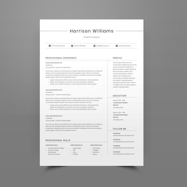 編集可能な履歴書または履歴書テンプレート Premium Psd