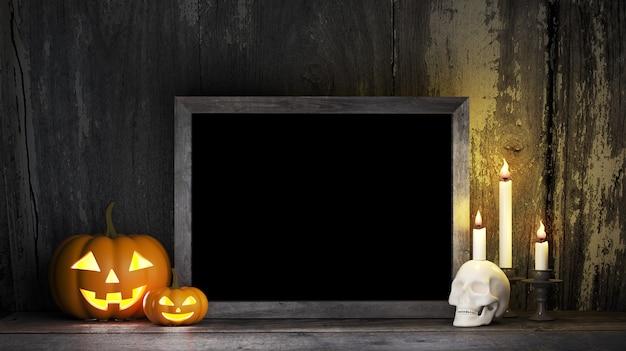ハロウィーンカボチャのキャンドル、黒板、ホラー映画のポスターのモックアップ Premium Psd
