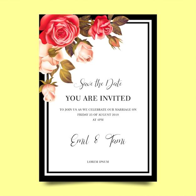 バラのフレームと結婚式の招待状のテンプレート Premium Psd