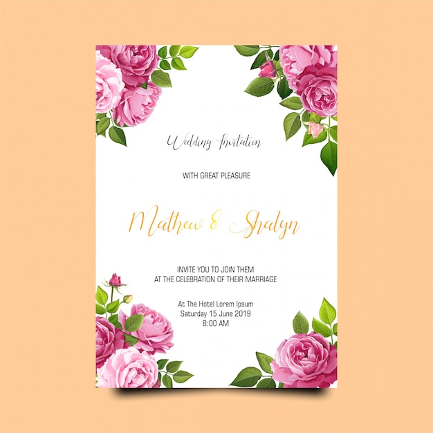 バラの結婚式の招待状のテンプレート Premium Psd