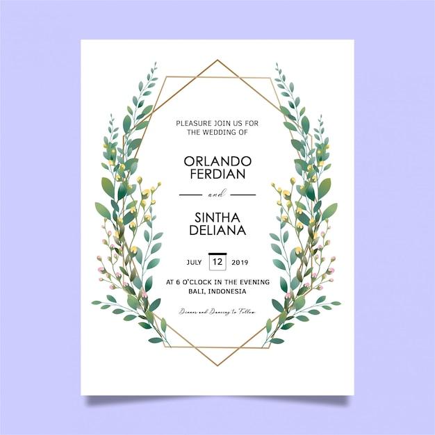 美しいリーフフレームの結婚式の招待状のテンプレート Premium Psd