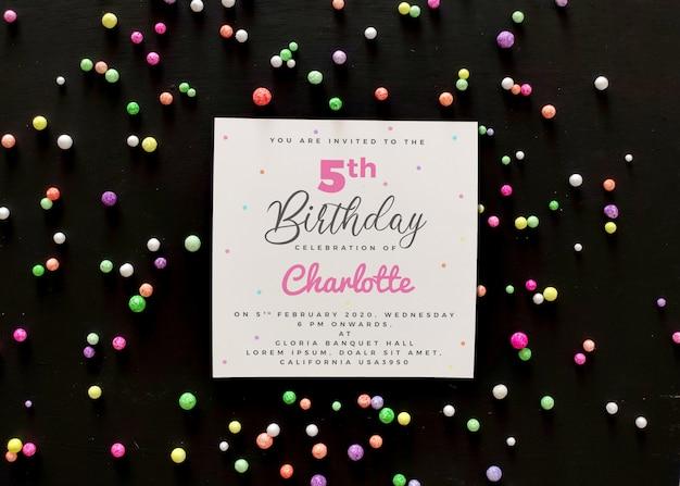 Макет пригласительного билета на день рождения Premium Psd