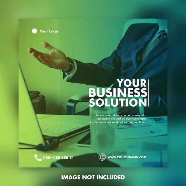 Цифровой бизнес маркетинг социальные медиа пост баннер и квадратный флаер Premium Psd