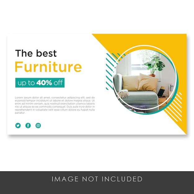 バナー販売家具黄色テンプレートきれい Premium Psd