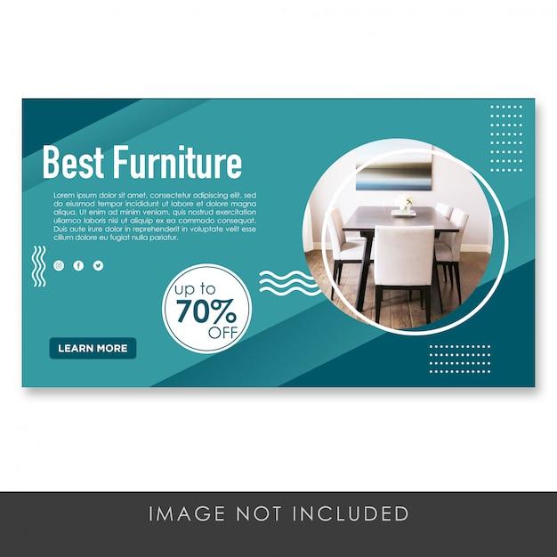 バナー最高の家具ブルーデザインテンプレート Premium Psd