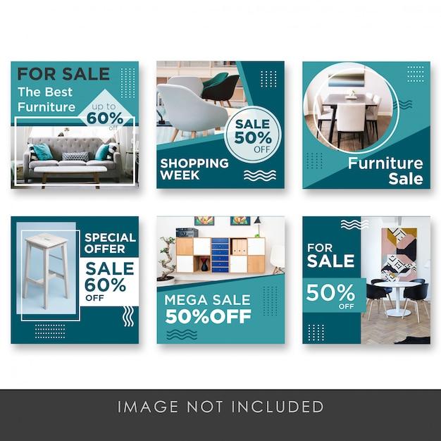 すべての家具コレクションテンプレートのソーシャルメディア販売後 Premium Psd