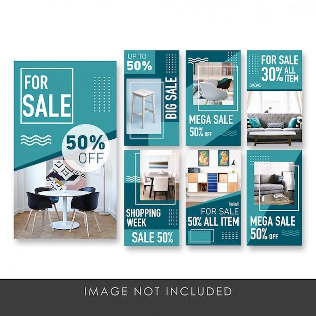販売家具コレクションテンプレートのストーリーバナー Premium Psd