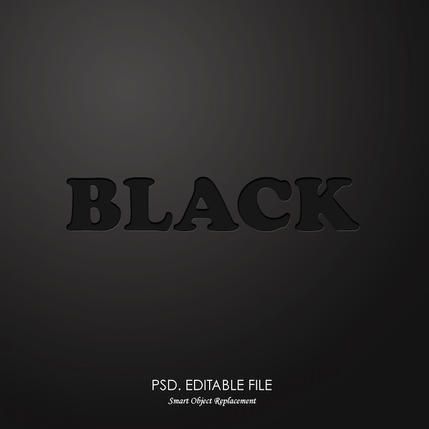 Черный текстовый макет Premium Psd